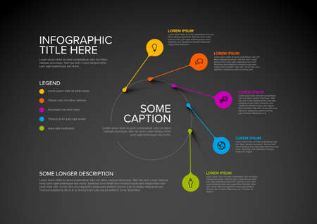 Illustration pour Vector multipurpose Infographic template made from pointers on circle path with icons, descriptions and legend - dark version - image libre de droit