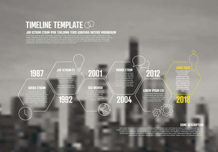 Foto für Time line infographic template with photo company corporate business placeholder in the background. Place a corporate image under the infochart timeline template - Lizenzfreies Bild