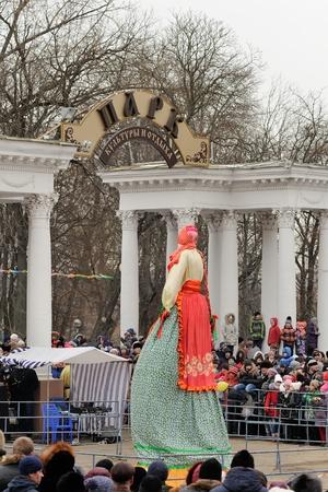 Orel, Russia, Maslenitsa Festival - 22 February, 2015: Kostroma or straw Lady Maslenitsa, during winter Maslenitsa 2015, carnival in Russia
