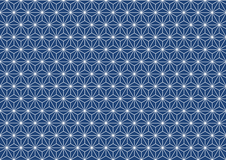 Geometric hemp-leaf pattern blue