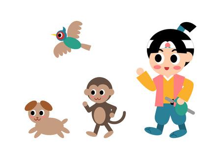 Illustration pour Illustration of Momotaro (well-known story in Japan), vector illustration. - image libre de droit