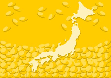 Illustration for Japanese map and money background illustration - Royalty Free Image