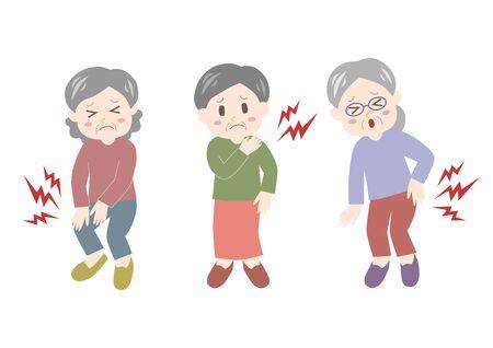 Illustration pour Vector illustration of elderly woman. Backache, stiff shoulder, joint pain. - image libre de droit