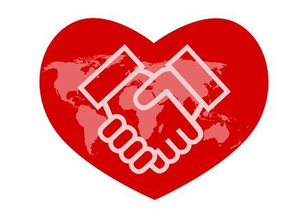 Illustration pour World map and handshake. Heart shaped icon. Vector illustration. - image libre de droit