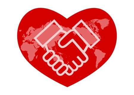 Illustration pour World map and handshake. Heart shaped icon. Japan-centered world map. Vector illustration. - image libre de droit