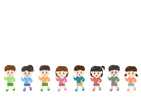 Illustration for Vector illustration of people moving forward. Children, boys, girls. - Royalty Free Image