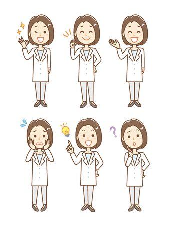 Illustration pour Facial expression set of woman wearing white coat - image libre de droit