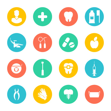 Illustration pour Vector Illustration. White dental Flat Icons Set on colorful circles. Vector Illustration for Dentistry and Orthodontics. - image libre de droit