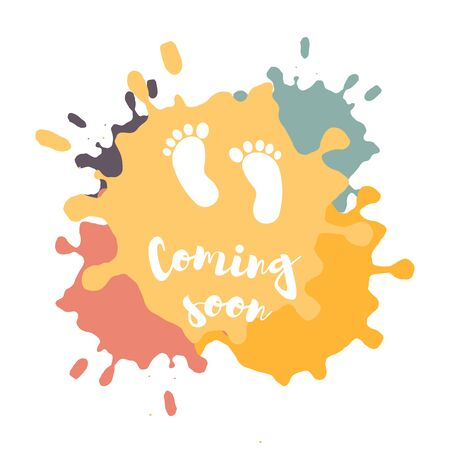 Illustration pour Coming soon, vector illustration with baby footprint. Fun quote hipster design  or label. - image libre de droit