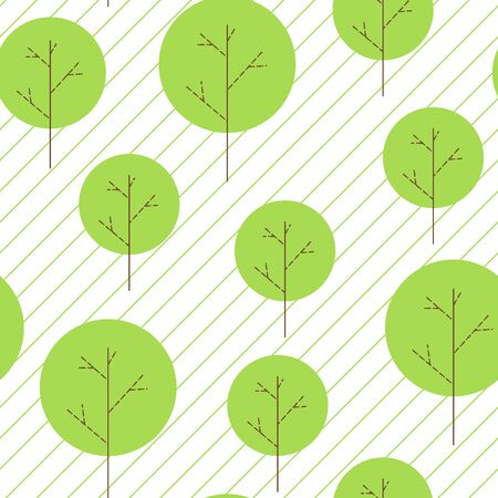 Seamless pattern with trees collection on ligne background. Background with green plants, forest. Trees concept. Vector illustration