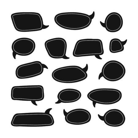 Photo pour Set of speech talk bubble template. Isolated chat icon with texture. Hand drawn comic, retro speak cloud. Vector Illustration - image libre de droit