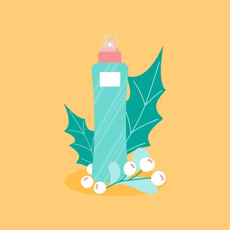Illustration pour Template card with nature skincare lotion with fruits and green leaf on yellow background. Korean bottle and nature elements composition for poster, template post. Vector Illustration   - image libre de droit