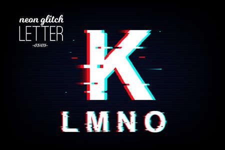 Foto de Isolated neon glitch letter from K to O. Noise vector font. Pixel design for social media, web, app, card. Vector Illustration - Imagen libre de derechos