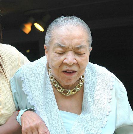 Senior citizen with her caregiver.