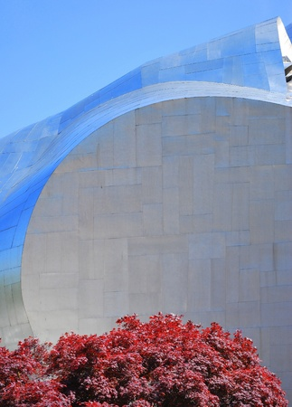Metallic panels of the experience music project in Seattle.