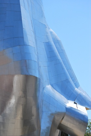 Metallic panels of the experience music project in Seattle, Washington.