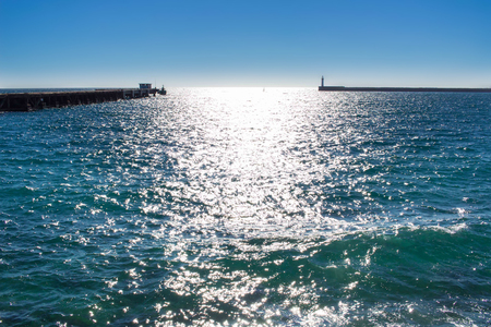 Mediterranean coastal sea view in Spain on sunny day