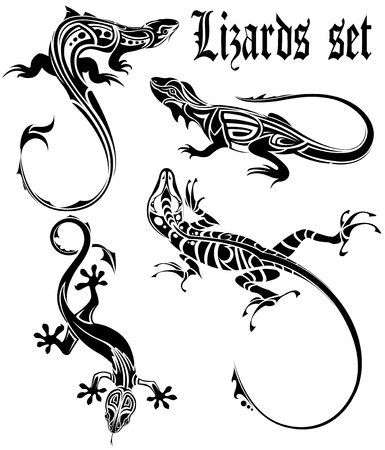 The vector image of  LIZARDS SET