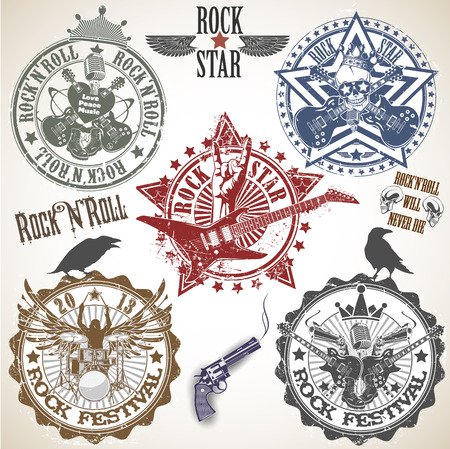 The vector image of Set of stamps with symbols rock n roll