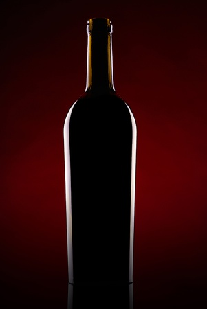 Silhouette of a beer bottle against a dark background