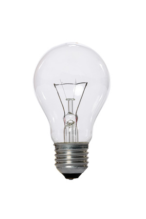 Photo for Incandescent lamp with transparent glass bulb and E27 europe connection. Old standard of consumption obsolete and prohibited by current regulations. - Royalty Free Image