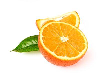 Half of orange with leaf isolated on white background