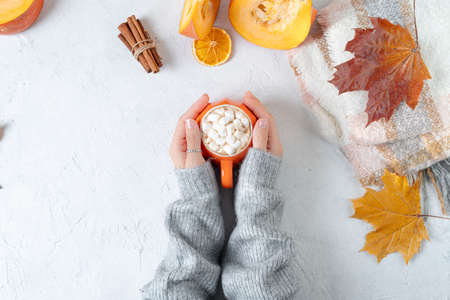 Photo pour Top view composition with woman's hands in sweater, pumpkins, cup of hot drink with marshmallows and autumn themed decoration, fallen leaves and cinnamon on white background. Flat lay, copy space - image libre de droit