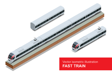 Modern high speed train. Vector isometric illustration of a Fast Train. Vehicles designed to carry large numbers of passengers. Isolated vector of modern high speed train.