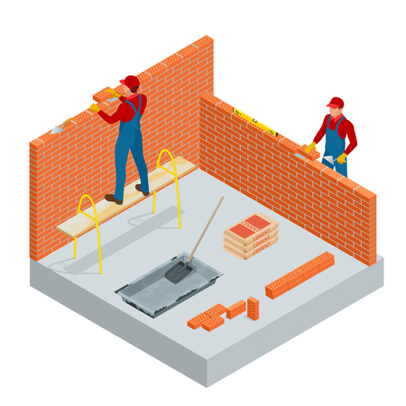 Illustration for Isometric industrial worker building exterior walls, using hammer and level for laying bricks in cement. Construction building industry, new home. Workers with tools vector illustration. - Royalty Free Image