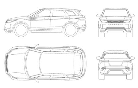 Illustration for Car vector template on white background. Compact crossover, SUV, 5-door station wagon on outline. Template vector isolated. View front, rear, side, top. - Royalty Free Image