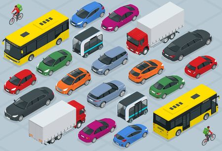 Illustration for Flat 3d isometric high quality city transport car icon set. Bus, bicycle courier, Sedan, van, cargo truck, off-road, bike, mini and sport cars. Urban public and freight vehihle. - Royalty Free Image