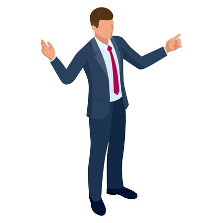 Illustration for Isometric businessman isolated on write. Creating an office worker character, cartoon people. Business people. - Royalty Free Image