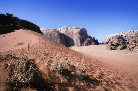 Photo for wadi rum desert in jordania location place were been shot movies like indiana jones ,laurence of arabia or red planet - Royalty Free Image