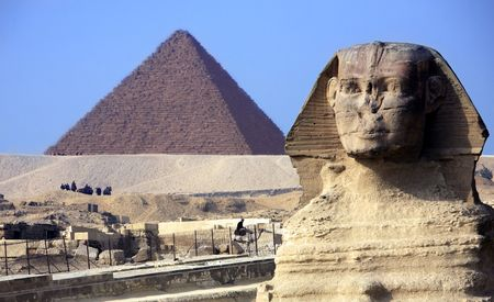 Photo for view of the sphynx with the pyramids of gizah near cairo in egypt - Royalty Free Image
