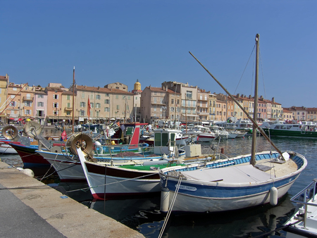 Photo pour view of the port of the typical south east of france village of saint tropez on the french riviera  - image libre de droit