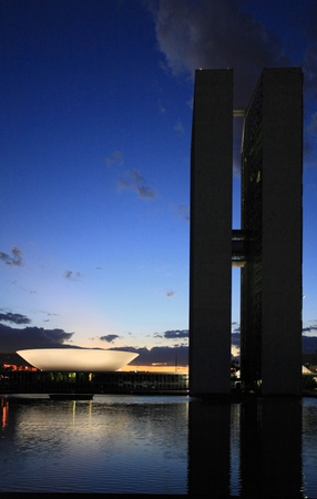 Photo pour The National Congress of Brazil in brasilia city capital of brazil by night - image libre de droit