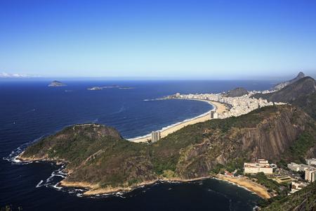 Foto de aerial view panorama from the sugar loaf from copacabana beach in rio de janeiro in brazil - Imagen libre de derechos