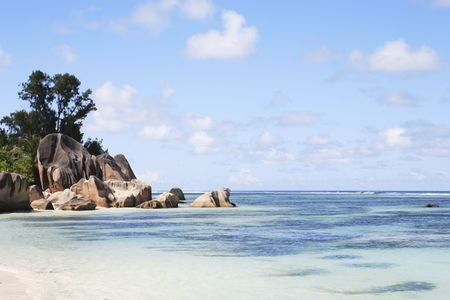 Photo for famous and beautiful beach of anse source d'argent at La Digue one of the seychelles island - Royalty Free Image