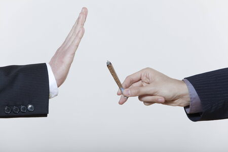 Photo pour one hand stop gesture no to drugs cannabis marijuana cigarette isolated background - image libre de droit