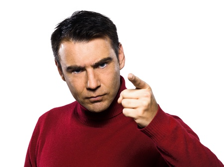 caucasian man beckoning menacing  finger raised  studio portrait on isolated white backgound