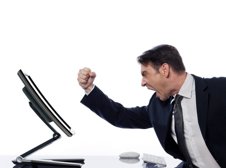 caucasian man and a computer display monitor on isolated white background expressing  bug  conflict rejection concept