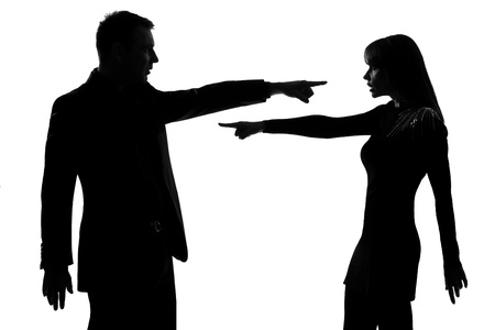 Photo for one caucasian couple man and woman pointing at each other expressing accusation in studio silhouette isolated on white background - Royalty Free Image