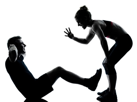 Photo for one couple man woman exercising workout aerobic fitness posture full length silouhette on studio isolated on white background - Royalty Free Image