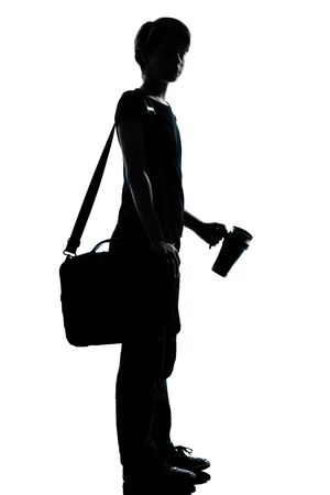 Photo pour one caucasian young teenager silhouette boy or girl school student  full length in studio cut out isolated on white background - image libre de droit