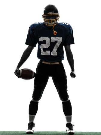 one caucasian quarterback american football player man in silhouette studio isolated on white background