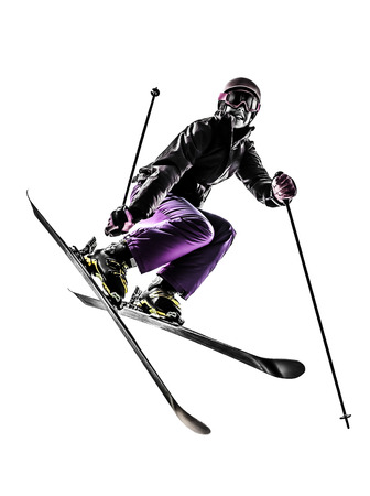 one caucasian woman skier s freestyler  jumping in silhouette on white background