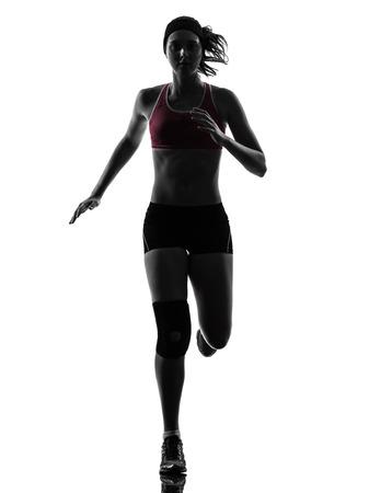 one caucasian woman runner running marathon in silhouette studio isolated on white background