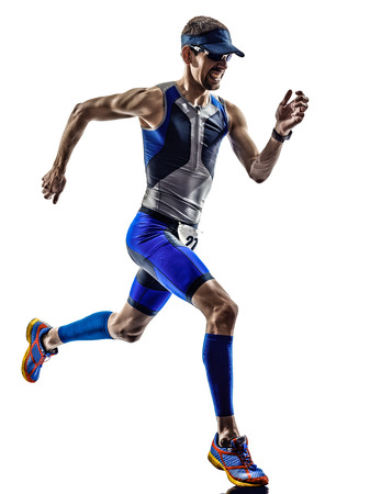 Photo pour man triathlon iron man athlete runners running in silhouettes on white background - image libre de droit