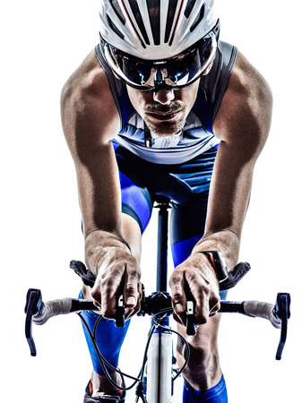 Photo pour man triathlon iron man athlete biker cyclist bicycling biking in silhouette on white background - image libre de droit