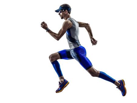 Photo pour man triathlon iron man athlete runners running in silhouette on white background - image libre de droit